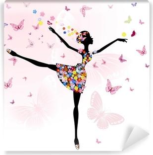 Papier Peint Autocollant Ballerine fille avec des fleurs avec des papillons