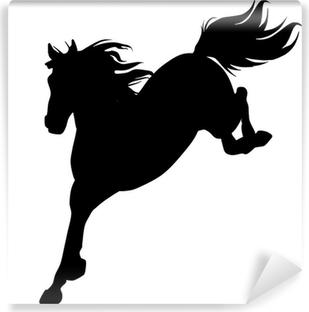 Papier Peint Autocollant Black horse silhouette 14 (vecteur)