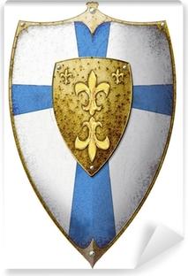 Papier Peint Autocollant Bouclier à la fleur de lys et croix bleue