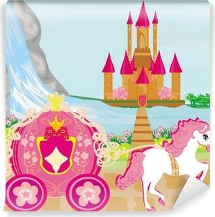 Papier Peint Autocollant Calèche et un château médiéval