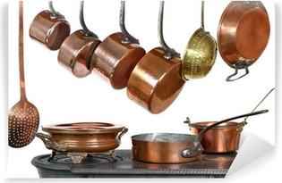 Papier Peint Autocollant Casseroles et ustensiles de cuisine en cuivre