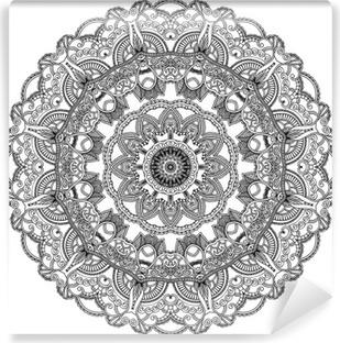 Papier Peint Autocollant Cercle de dentelle noire sur fond blanc. Ornement mandala