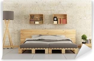 Papier peint à motifs Chambre moderne avec lit de palette ...