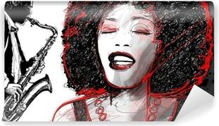Papier Peint Autocollant Chanteuse de jazz et le saxophone