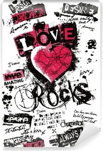 Papier Peint Autocollant Coeur de fantaisie dans le style de graffiti
