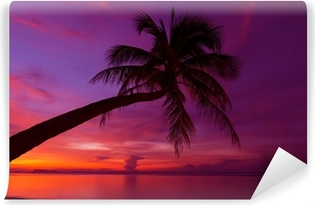 Papier peint autocollant Coucher de soleil tropical avec palmier silhoette à la plage