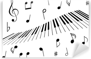 Papier Peint Autocollant Des notes de musique et des touches de piano