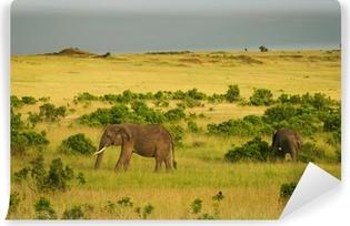 Papier peint autocollant Éléphants de la savane, Masai Mara, Kenya