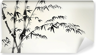 Papier Peint Autocollant Encre bambou peints