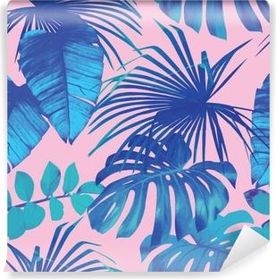 Papier Peint Autocollant Feuilles tropicales fond transparent