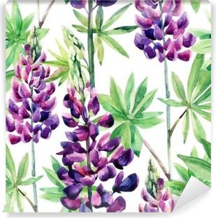 Papier Peint Autocollant Fleurs seamless lupins aquarelle