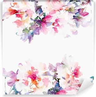 Papier Peint Autocollant Floral fond d'aquarelle. Roses.