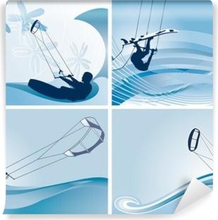 Papier Peint Autocollant Fonds d'écran vecteur kitesurf