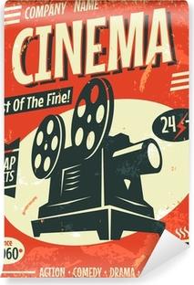 Papier Peint Autocollant Grunge affiche de cinéma rétro. Vector illustration.