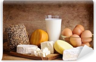 Papier peint autocollant Le fromage, le pain, le lait et les œufs