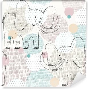 Papier Peint Autocollant Modèle géométrique sans soudure dessiné de vecteur avec éléphant