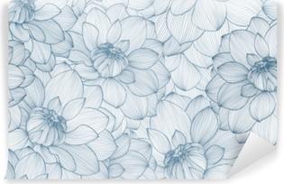 Papier Peint Autocollant Modèle sans couture avec fleurs de dahlia dessinés à la main.
