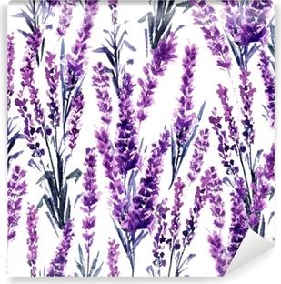 Papier Peint Autocollant Modèle sans couture de champ de lavande. aquarelles ou aquarelles de lavande de provence. fleur d'herbes de thé dessiné à la main. fleur d'été ou feuillage de plante de jardin en aquarelle. nature et parfum.
