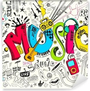 Papier Peint Autocollant Musique Doodle