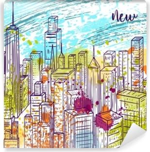 Papier Peint Autocollant New York. paysage de ville dessiné main vintage coloré et éclaboussures dans un style aquarelle. illustration vectorielle