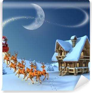 Papier peint autocollant Noël Scène de nuit - Santa Claus promenades en traîneau de rennes