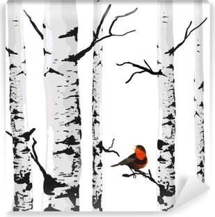 Papier Peint Autocollant Oiseau de bouleaux, dessin vectoriel avec des éléments modifiables.