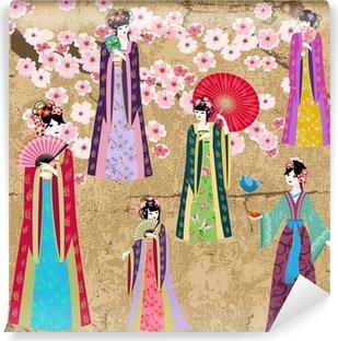 Papier Peint Autocollant Oriental fille en costume rétro