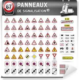 Papier Peint Autocollant Panneaux de signalisation routière de n ° 3