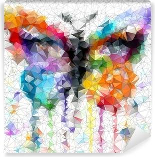 Papier Peint Autocollant Papillon lumineux multicolore fond abstrait géométrique
