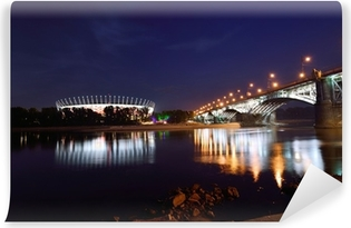 Papier peint autocollant Poniatowski Bridge et Stade National de Varsovie par nuit