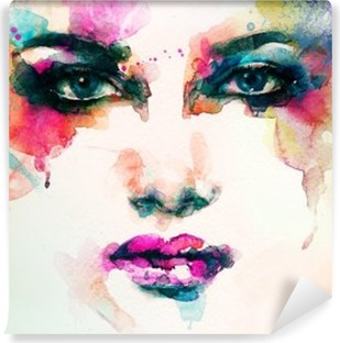 Papier Peint Autocollant Portrait de femme. aquarelle abstraite. mode arrière-plan