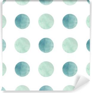 Papier peint autocollant Texture d'aquarelle. Seamless. cercles d'aquarelle dans des couleurs pastel sur fond blanc. Les couleurs pastel et design délicat romantique. Motif de point de polka. Couleurs fraîches et de menthe.