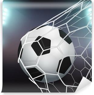 Papier peint autocollant Vecteur de ballon de football dans le filet de but sur le stade avec la lumière
