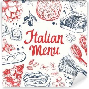 Papier peint autocollant Vector illustration avec machine à pâtes, raviolis et légumes.