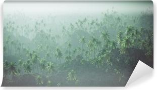 Papier Peint Autocollant Vue aérienne de la forêt de palme dans la brume.
