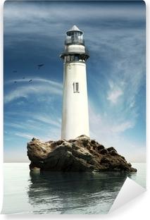 Papier Peint Autocollant Vue de jour d'un phare ancien sur une île de roche