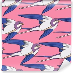 Papier peint vinyle Avaler, les oiseaux. modèle sans couture coloré, arrière-plan.