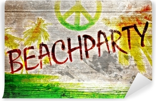 Papier peint vinyle Beachparty graffiti auf altem Holzbrett