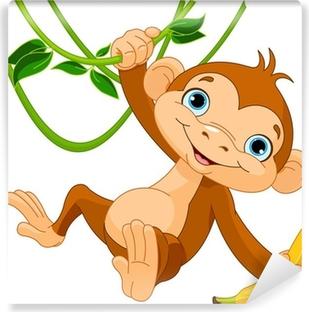 Papier peint vinyle Bébé singe sur un arbre