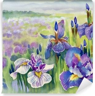 Papier peint vinyle Bel iris prairie à l'aquarelle