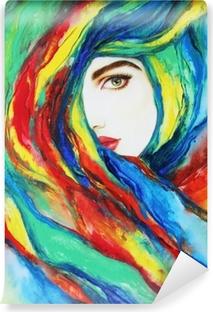 Poster Belle Femme Illustration De Mode Peinture Acrylique