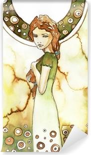 Papier peint vinyle Belle fille dans un cadre verdoyant Art Nouveau
