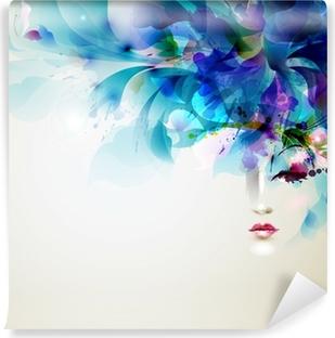 Papier Peint Vinyle Belles femmes abstrait avec des éléments de conception