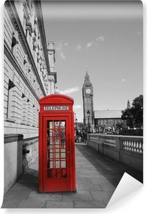 Papier peint vinyle Big Ben et cabine téléphonique rouge