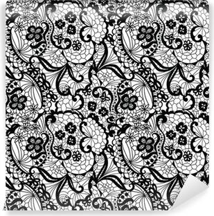 Papier peint vinyle Black Lace seamless avec des fleurs sur fond blanc