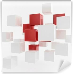 Papier peint vinyle Boîtes blanches 3D / cube   Concept Wallpaper