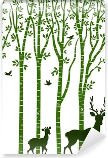 Papier peint vinyle Bouleau avec des cerfs