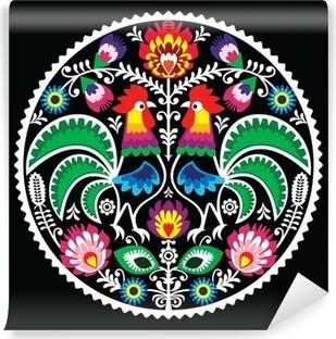 Papier peint vinyle Broderie florale polonais avec des coqs - folklorique