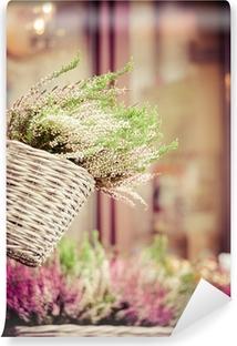 Papier peint vinyle Bruyère rose et violet en pot de fleur décoratif