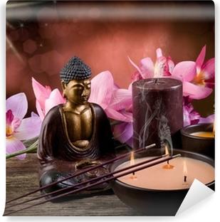 Papier peint vinyle Buddah witn bougie et de l'encens